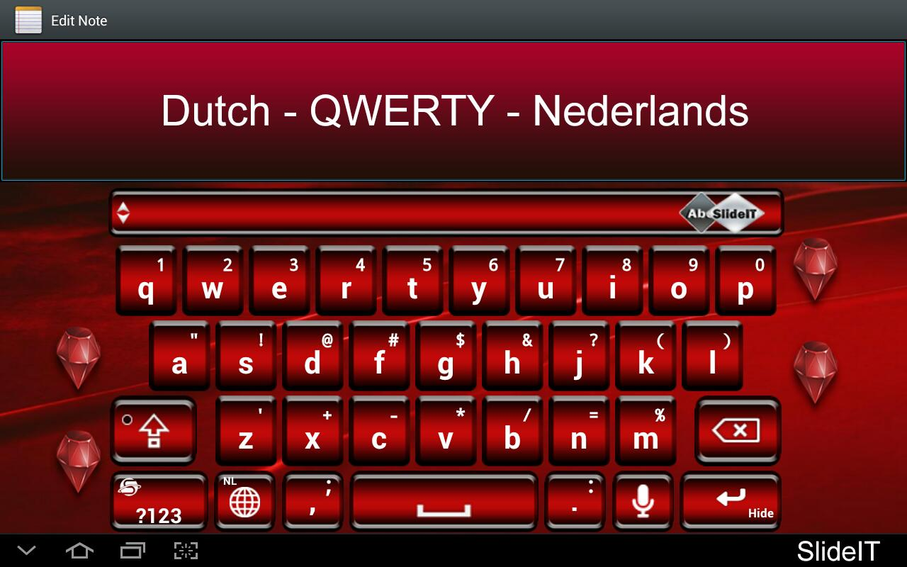 SlideIT Dutch QWERTY Pack- screenshot