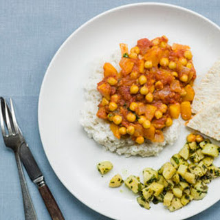 Chickpea and Peach Curry With Rice, Pitta and Spiced Spinach Potatoes..