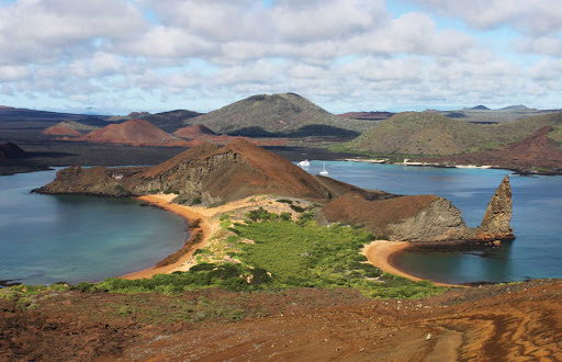 Bartolome-aerial - Bartolomé has some of the most magnificent landscapes in the Galapagos during your Silversea cruise.