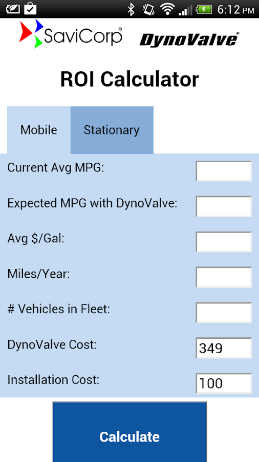 DynoValve ROI Calculator- screenshot
