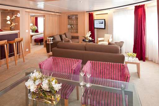 The Signature Suite on Seabourn Sojourn lets you spread out. It has a dining area that fits six people, a private bedroom and bathroom with a large whirlpool tub, a stocked pantry and wet bar, and complimentary wi-fi.