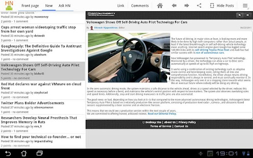 HackerNews HD for tablets - screenshot thumbnail