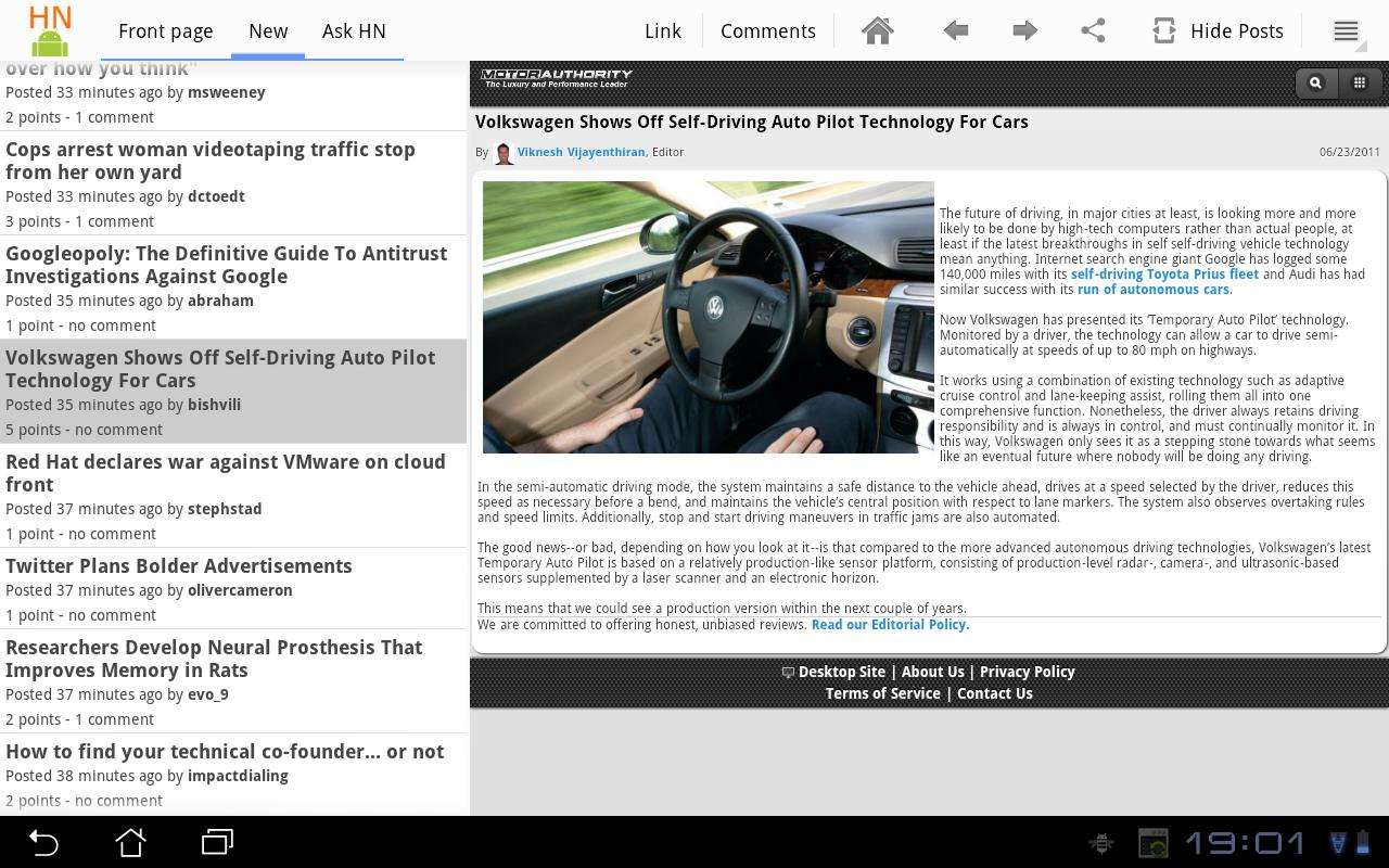 HackerNews HD for tablets - screenshot