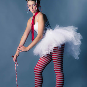 Peppermint Twist by Jeff Dugan - People Fashion ( coture, tutu, candy cane, legs, fashion photography, conceptual, confectionery )