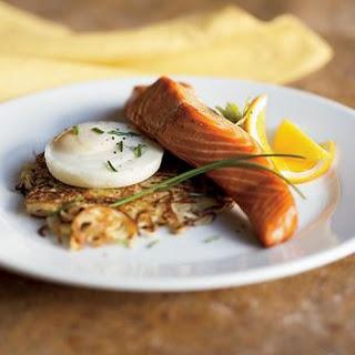 Potato Latkes with Hot-Smoked Salmon.