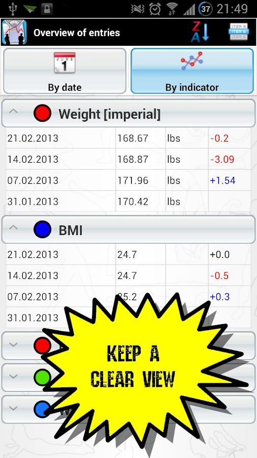 Dynamic Weight & Body Tracker - screenshot