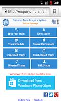 Screenshot of Live Train Enquiry
