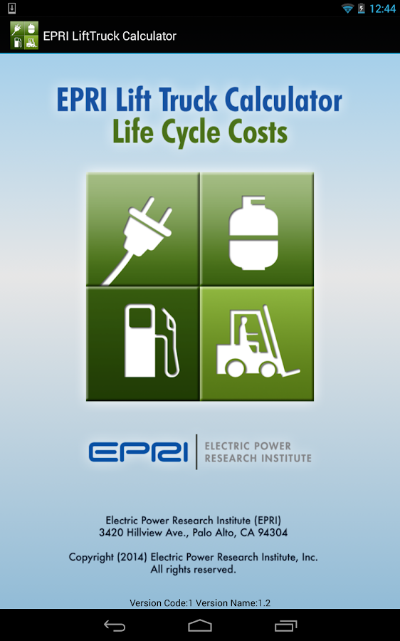 EPRI Lift Truck Calculator- screenshot