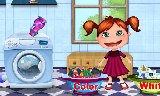 洗衣女孩洗衣服