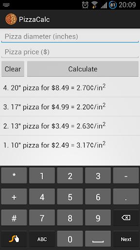 PizzaCalc Pizza Calculator