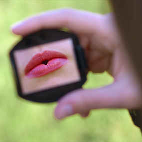 Heart-shaped kiss by Goran Kojadinovic - People Body Parts ( mirror, kiss, lips, heart-shaped, red lipstick,  )