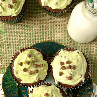 Mint Chocolate Chip Cookie Dough Cupcakes.