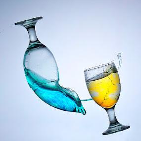 Blue and Yellow by Yan Kebak - Digital Art Things ( #indonesia  #still life #macro #water splash )