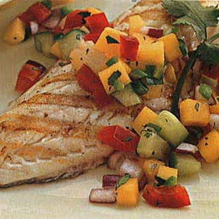 Grilled Sea Bass with Tropical Salsa.