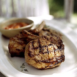 Grilled Pork Chops with Peach-Tomato Barbecue Sauce
