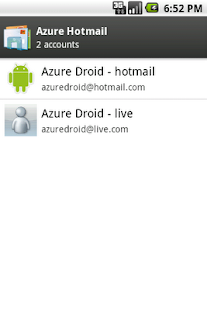 Azure Hotmail - screenshot thumbnail