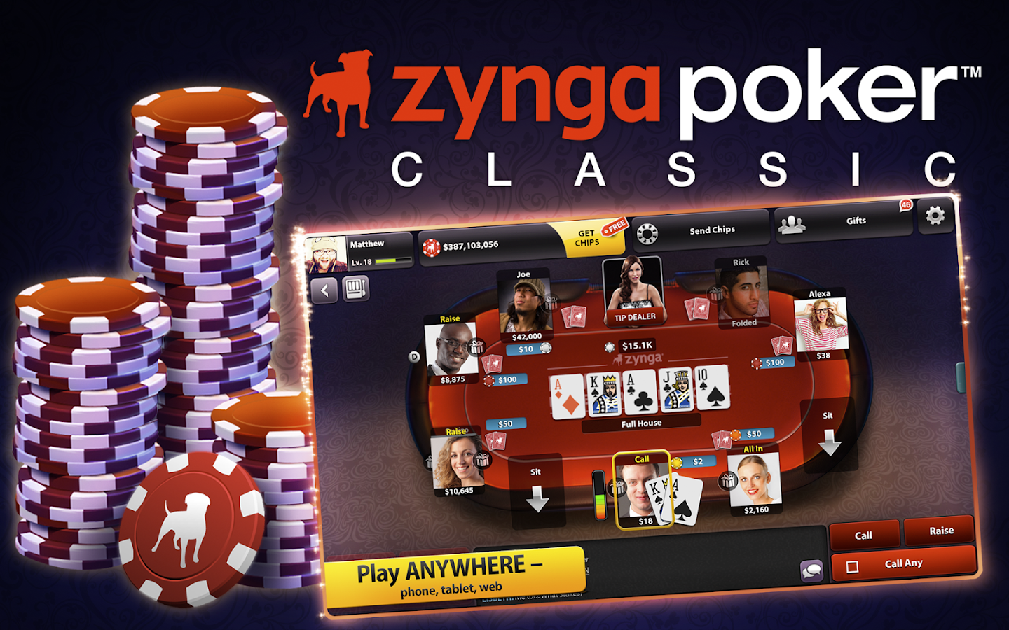 zynga poker playing with friends