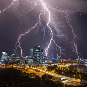 STRIKING PERTH CITY AUSTRALIA by Steve Brooks - City,  Street & Park  Skylines ( kings park, lightning, perth, australia, weather, strikes, storms, travel, western australia,  )