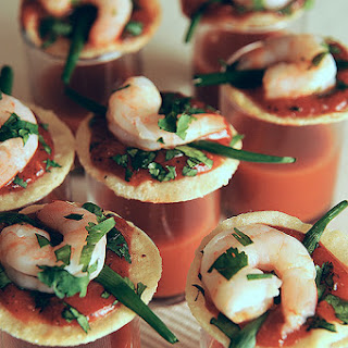 ONE-BITE SHRIMP COCKTAILS with Zesty Vegetable Juice Shot