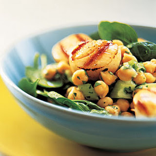 Grilled Scallops with Lemon-Chickpea Salad.