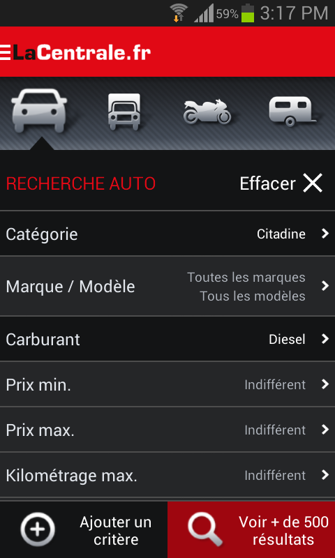 LaCentrale.fr voiture occasion - screenshot