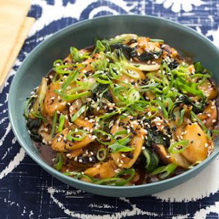 Korean Rice Cakes with Shiitake Mushrooms, Napa Cabbage & Tatsoi.
