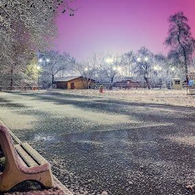 Winter fairy tale by Stoyan Katinov - City,  Street & Park  Night ( canon6d, stoyan katinov, park, beautiful, katinov, city, glamour, pazardzhik, winter, night photography, parks, snow, fairytale, bulgaria )