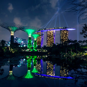 Marina Bay Sands in Singapore by Naďa Murmakova - Buildings & Architecture Other Exteriors ( skyline, harbor, travel, architecture, historic, attraction, city, sky, marina, light, central, structure, symbol, tourism, dusk, landmark, tourist, bay, scene, bridge, view, flyer, reflection, landscape, business, singapore, modern, sands, skyscraper, southeast, asia, district, evening, downtown, water, building, beautiful, sea, aerial, vacations, hour, urban, tower, blue, sunset, night, hotel, celebration, esplanade, river,  )