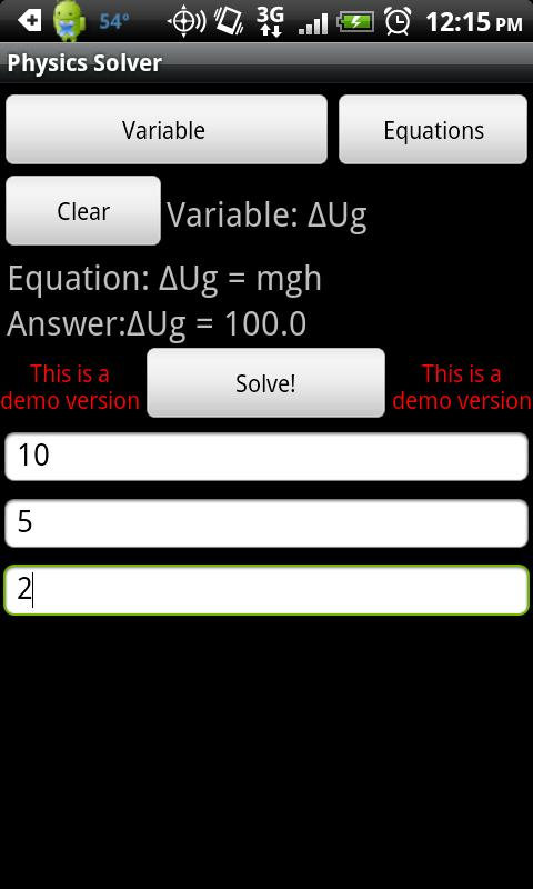 Physics Solver Lite - screenshot
