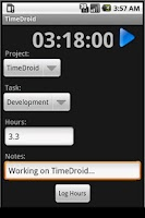 Screenshot of TimeDroid Pro for Freshbooks