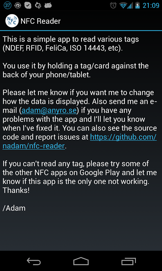 NFC Reader - screenshot