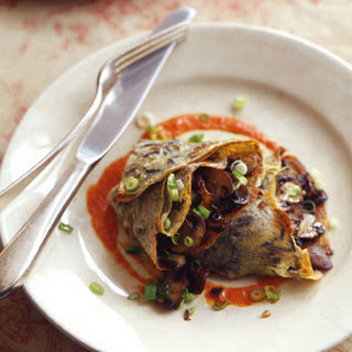 Scallion Wild Rice Crepes with Mushroom Filling and Red Pepper Sauce.