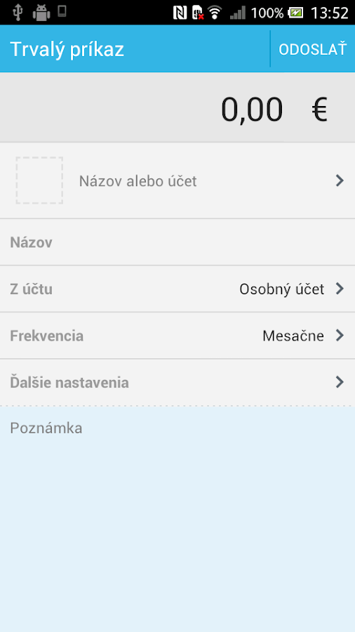 Platby - screenshot
