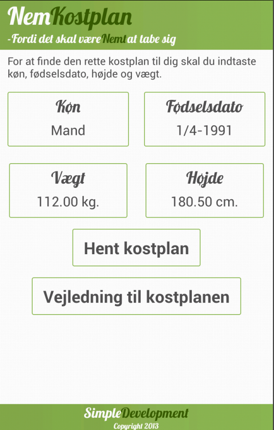 Nem Kostplan - screenshot