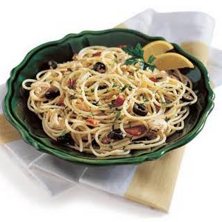Spaghetti with Clams, Tuna, and Bacon.