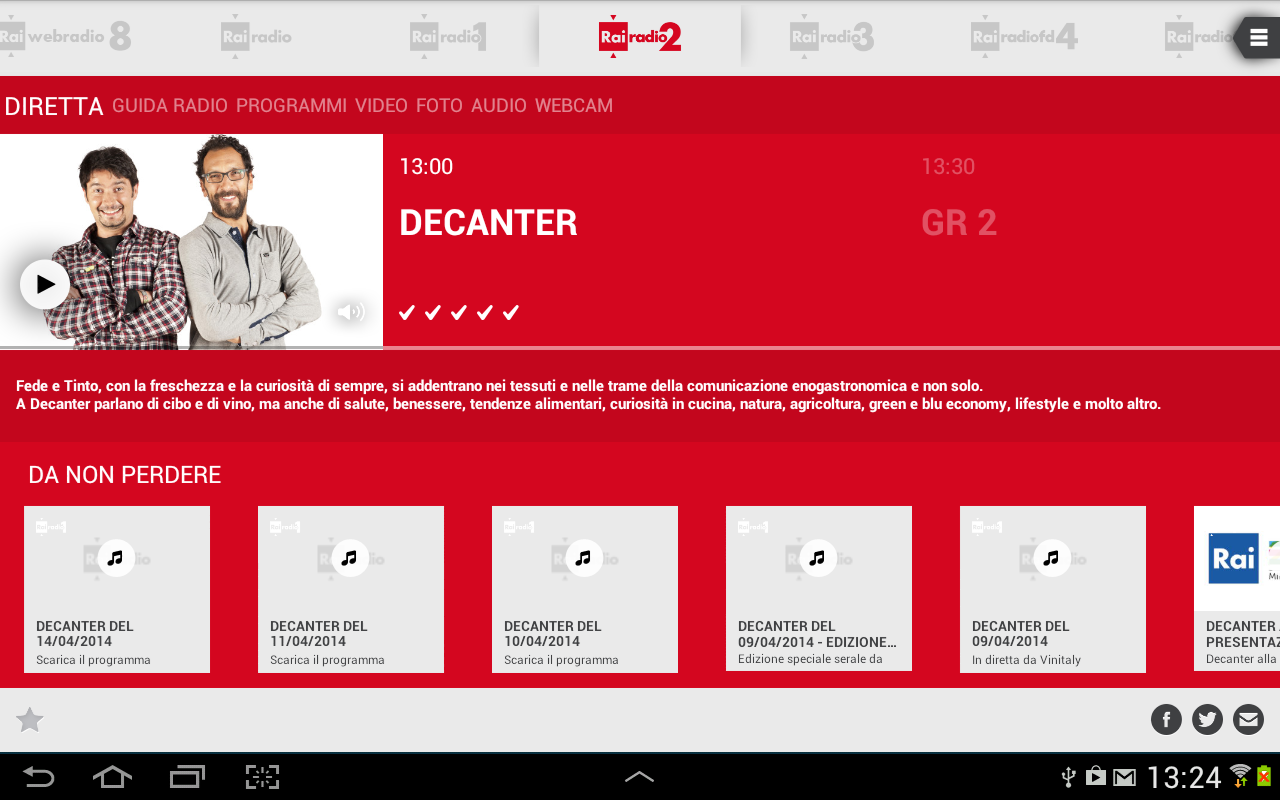 Radio rai app android su google play for Radio parlamento diretta