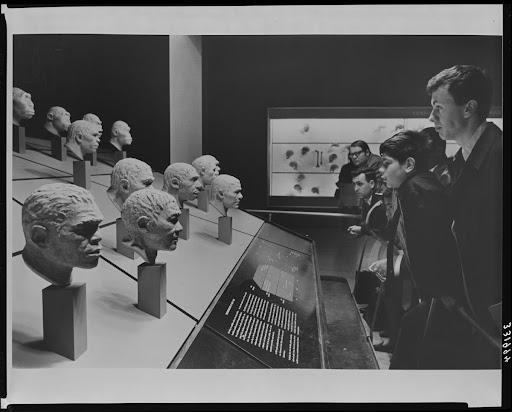 Viewing head models, Biology of Man Hall, 1966