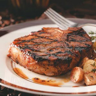 Coffee-Molasses Marinated Pork Chops.