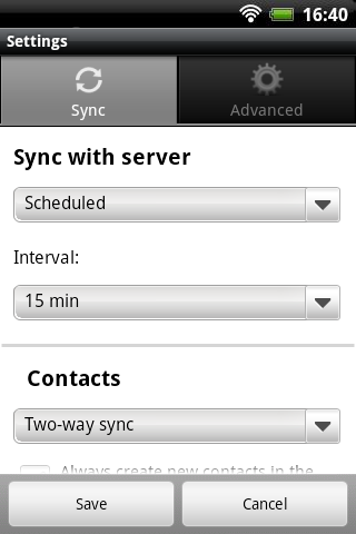 Memotoo sync- screenshot
