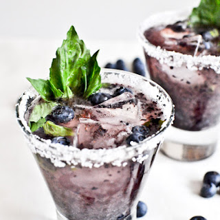 Roasted Blueberry Basil Margaritas