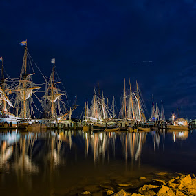 Lighting Up the Down Rigging by Deborah Felmey - Transportation Boats ( water, schooners, reflections, ships, night, , device, transportation )