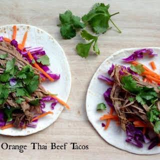 Shredded Orange Thai Beef Tacos.