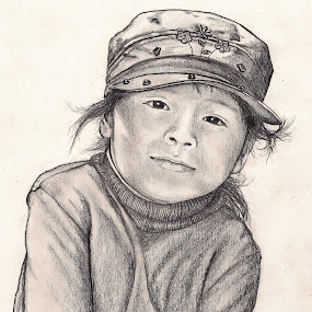 My Pink Hat by Lew Davis - Drawing All Drawing ( girls, pink hat, little girl, cap, children, pencil drawings, kids, youth, lew davis, females, portrait, drawing, hat, hats, pencil, child, drawings, girl, peruvian, female, pencil drawing, portraits,  )