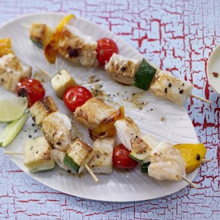 Fish and Vegetable Skewers with Lime Dip