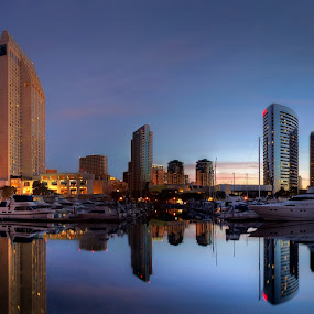San Diego at Dawn by Christopher Payne - City,  Street & Park  Skylines ( water, diego, reflection, park, street, sea, ocean, boat, morning, dock, city, sky, san, dawn, bay, night, marina, downtown, reflect, HDR, Landscapes,  )