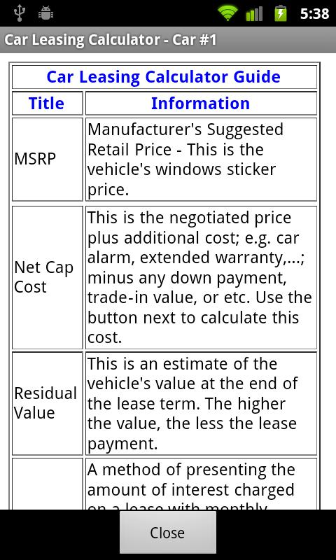 car lease calculator free android apps on google play. Black Bedroom Furniture Sets. Home Design Ideas