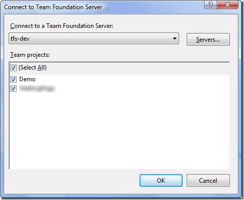 Connect to Team Foundation Server Dialog