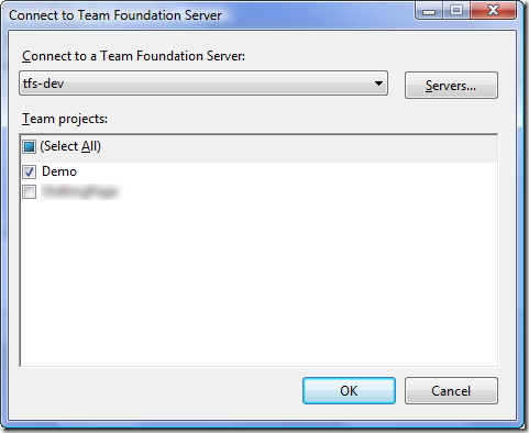 Connect to Team Foundation Server Dialog - Multi-Project Select - With Default Selection