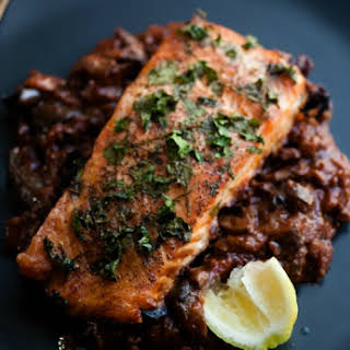 Parsley Crusted Salmon over Spanish Eggplant.