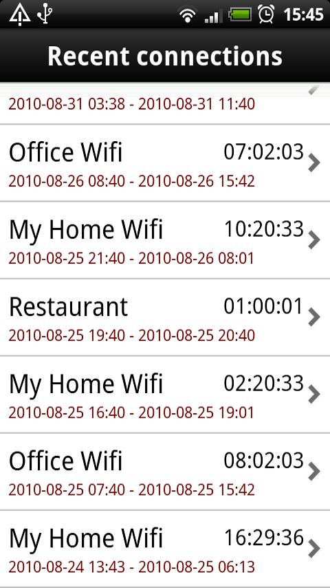 Wifi history- screenshot